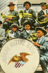 Photographic Postcard of  an American Indian Brass Band, the Juneau Native Band,  c. 1900's