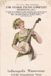 Trade Card Advertisement of  a young woman banjo player,  c. 1910's
