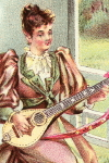 Trade Card Advertisement of  a Young Woman Playing a Pollmann Mandoline-Banjo (1894)
