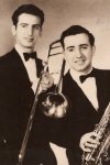 Photograph with Autograph of  portrait of brothers Sonny and Tommy Lane with instruments, autographed above