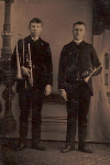 Tintype of  young men with trombone and cornet,  c. late 19th Century